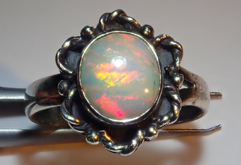 6.25size Natural Ethiopian Welo Opal .925 Sterling Silver