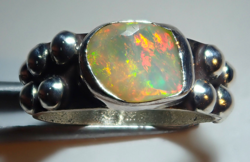 5.50size Natural Ethiopian Welo Opal .925 Sterling Silver