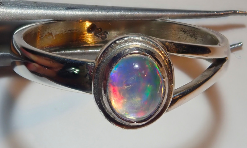 7.25size Natural Mexican Opal .925 Sterling Silver