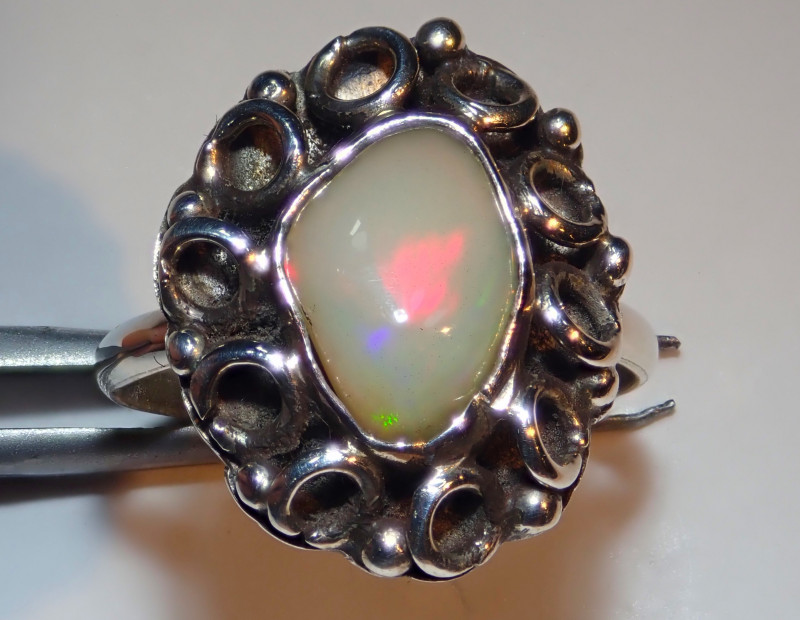 8.25size Natural Ethiopian Welo Opal .925 Sterling Silver