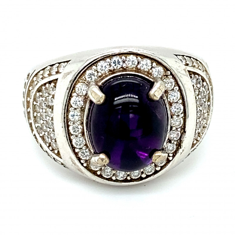Amethyst 3.70ct Platinum Finish Solid 925 Sterling Silver Ring