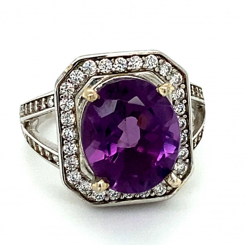 Amethyst 3.22ct Platinum Finish Solid 925 Sterling Silver Ring