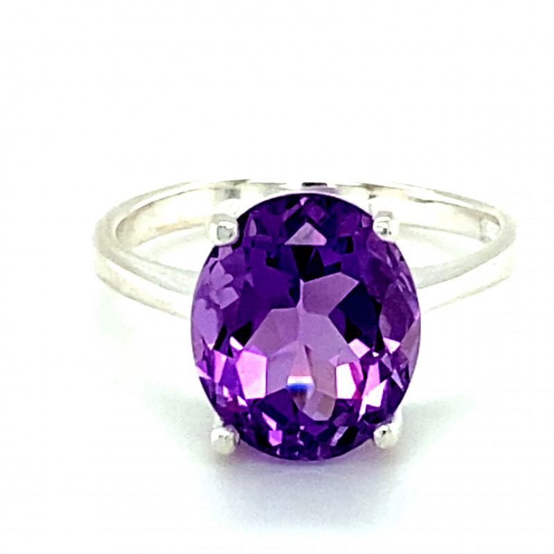 Amethyst 4.48ct Platinum Finish Solid 925 Sterling Silver Ring