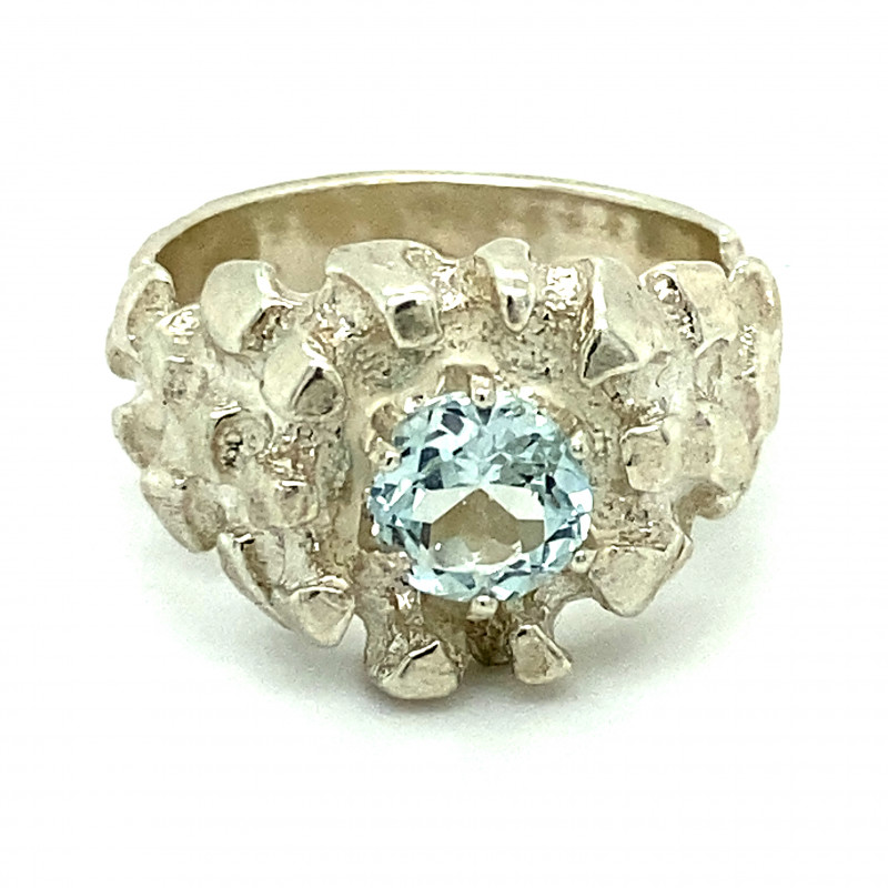 Aquamarine 1.20ct Solid 925 Sterling Silver Ring