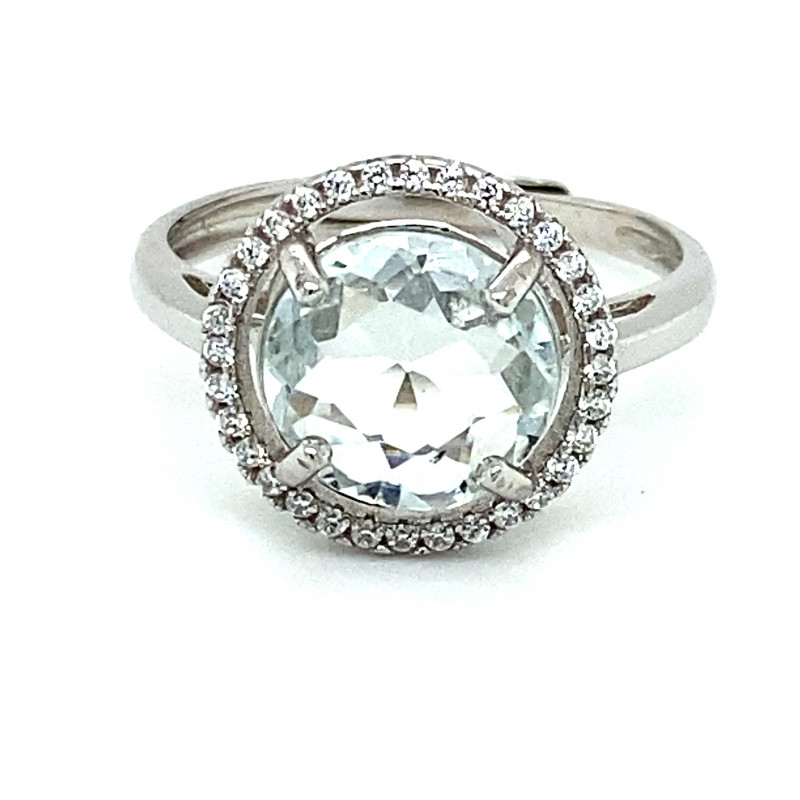 Aquamarine 2.00ct White Gold Finish Solid 925 Sterling Silver Ring
