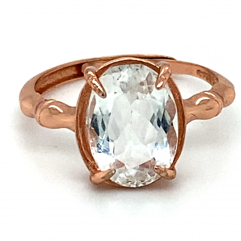 Aquamarine 2.70ct Rose Gold Finish Solid 925 Sterling Silver Ring