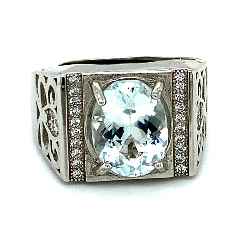 Aquamarine 3.05ct White Gold Finish Solid 925 Sterling Silver Ring