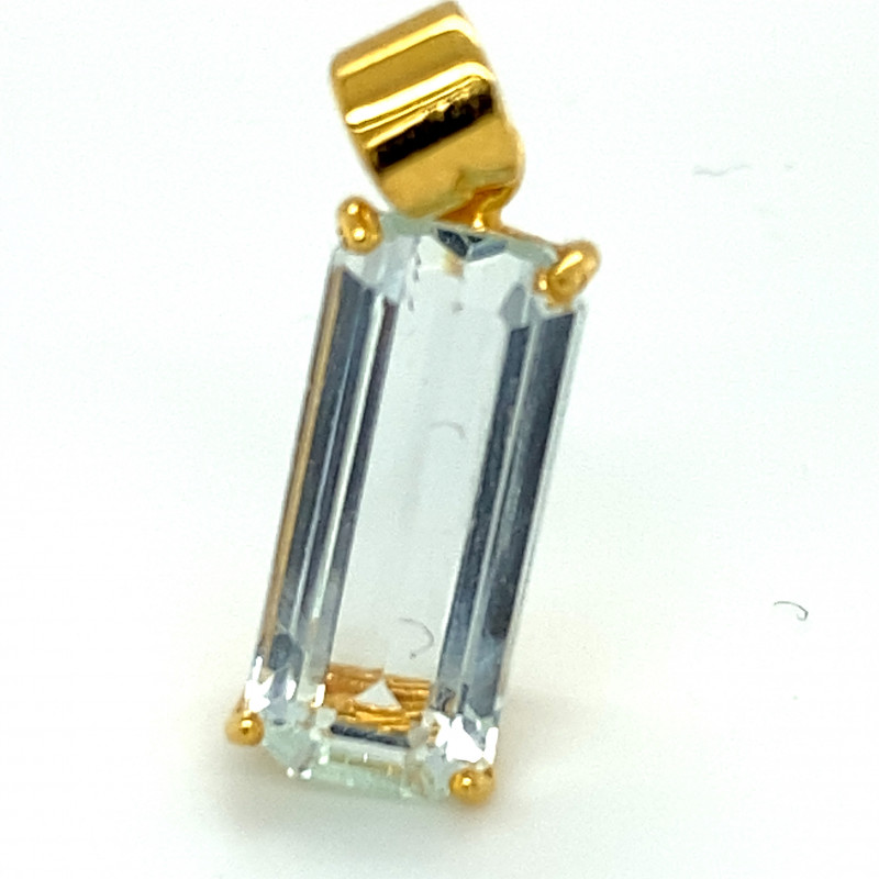 Aquamarine 6.56ct Solid 18K Yellow Gold Pendant