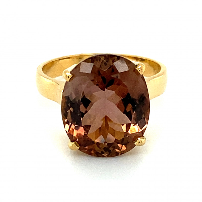 Axinite 8.62ct Solid 18K Yellow Gold Ring