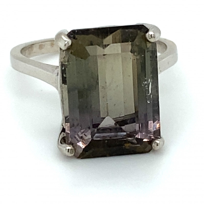 BiColor Tourmaline 6.80ct Platinum Finish Solid 925 Sterling Silver Ring