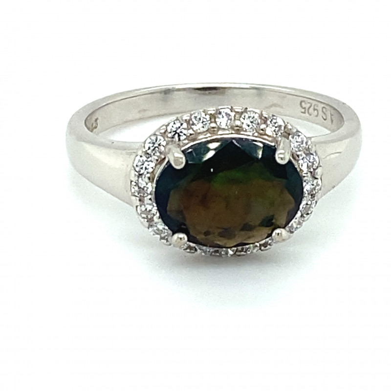 Black Opal .90ct Platinum Finish Solid 925 Sterling Silver Ring