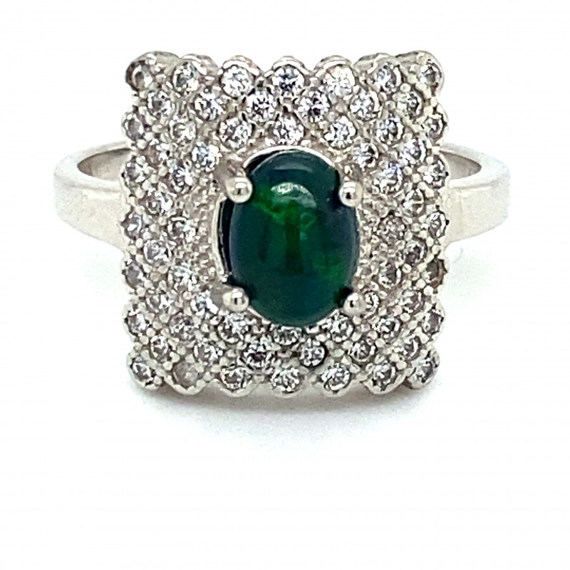 Black Opal 1.02ct Platinum Finish Solid 925 Sterling Silver Ring