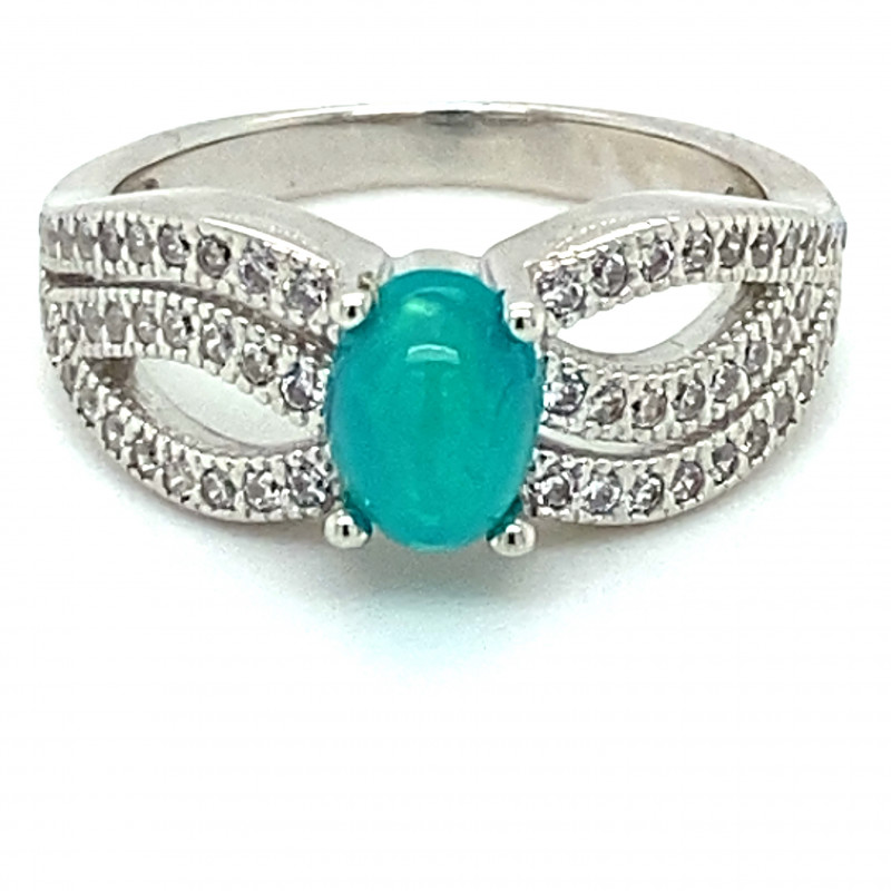 Blue Opal .90ct Platinum Finish Solid 925 Sterling Silver Ring