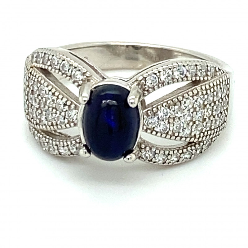 Blue Opal 1.00ct Platinum Finish Solid 925 Sterling Silver Ring