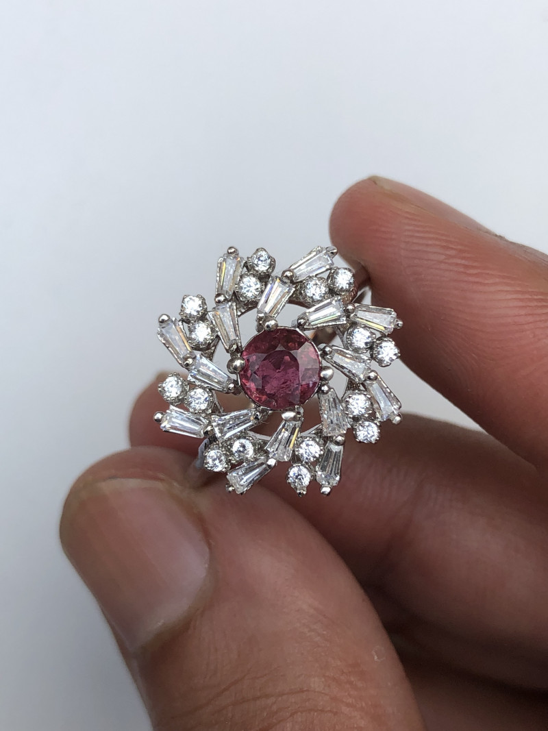 20.30 Cts Rubelight Tourmaline 925 Silver Ring