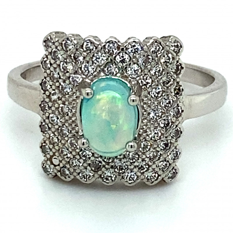 Blue Opal 1.10ct Platinum Finish Solid 925 Sterling Silver Ring