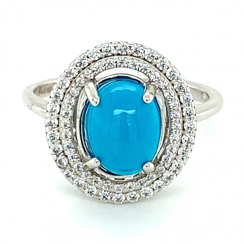 Blue Opal 1.18ct Platinum Finish Solid 925 Sterling Silver Ring