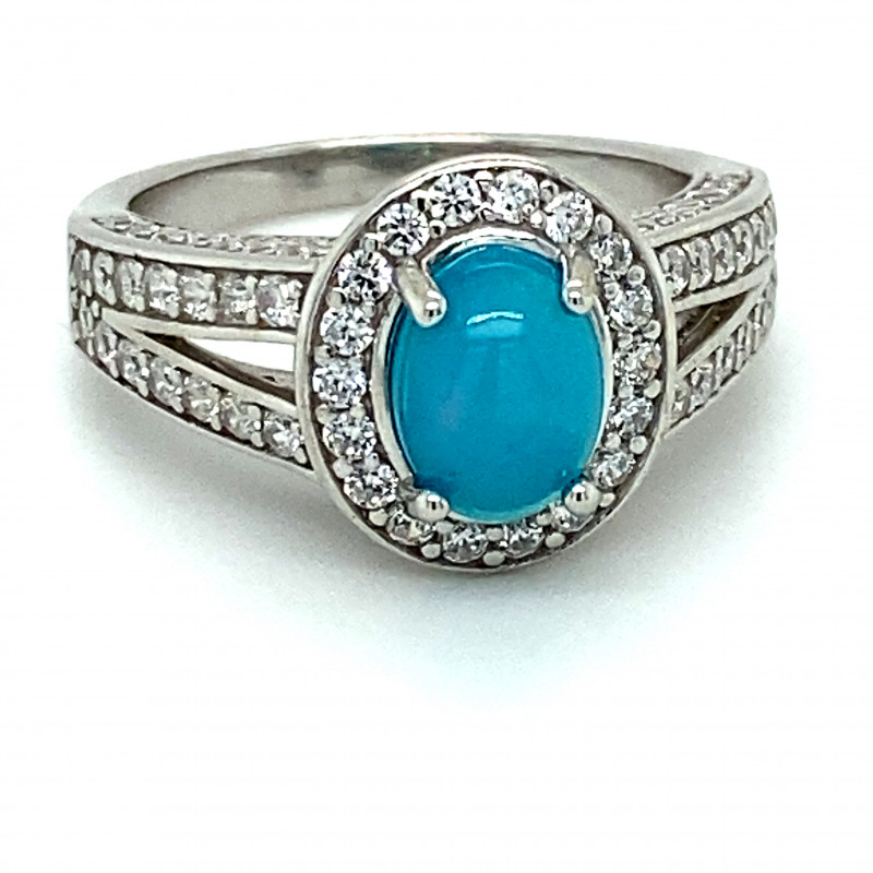 Blue Opal 1.33ct Platinum Finish Solid 925 Sterling Silver Ring