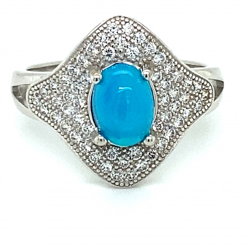 Blue Opal 1.40ct Platinum Finish Solid 925 Sterling Silver Ring