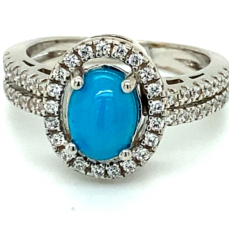 Blue Opal 1.52ct Platinum Finish Solid 925 Sterling Silver Ring