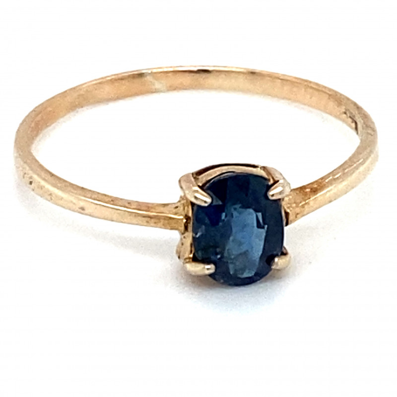 Blue Sapphire .95ct Golden Rhodium Finish Solid 925 Sterling Silver Ring
