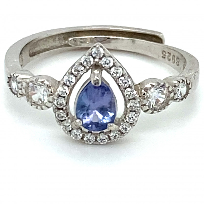 Blue Sapphire 1.15ct White Gold Finish Solid 925 Sterling Silver Ring