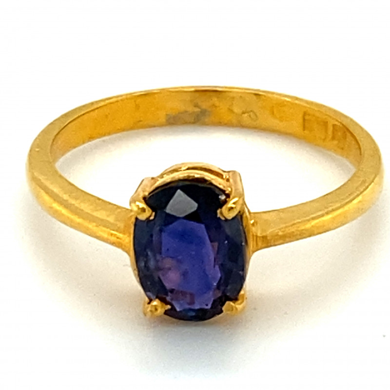 Royal Blue Sapphire 1.30ct Solid 22K Yellow Gold Ring