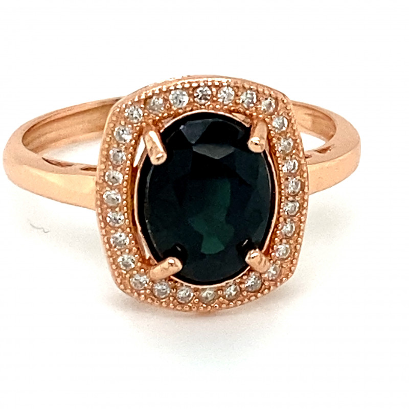 Blue Sapphire 3.15ct Rose Gold Finish Solid 925 Sterling Silver Ring