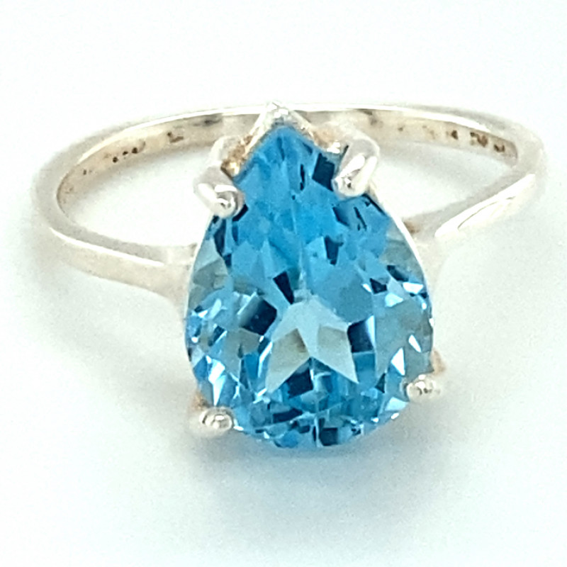 Blue Topaz 3.00ct Platinum Finish Solid 925 Sterling Silver Ring