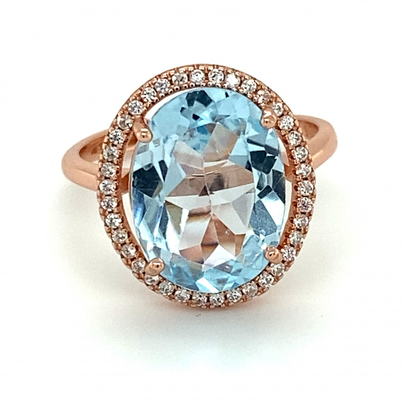 Blue Topaz 5.95ct Rose Gold Finish Solid 925 Sterling Silver Ring