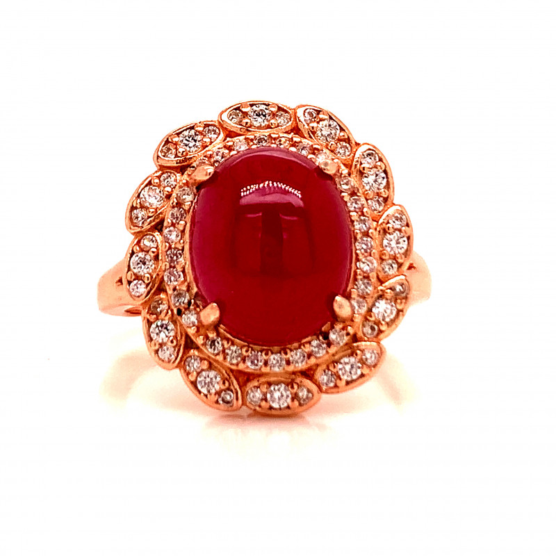 Natural Ruby ring with White CZ in Rose Gold Silwver 925.