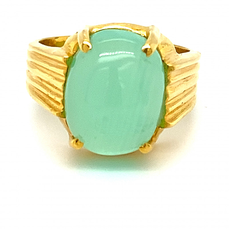 Green Cats Eye Calcite 8.75ct Solid 18K Yellow Gold Ring