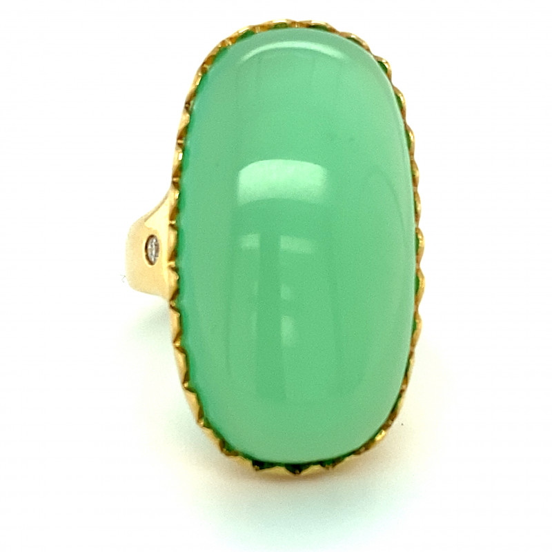 Cats Eye Green Calcite 38.04ct Natural Diamonds Solid 18K Yellow Gold Ring
