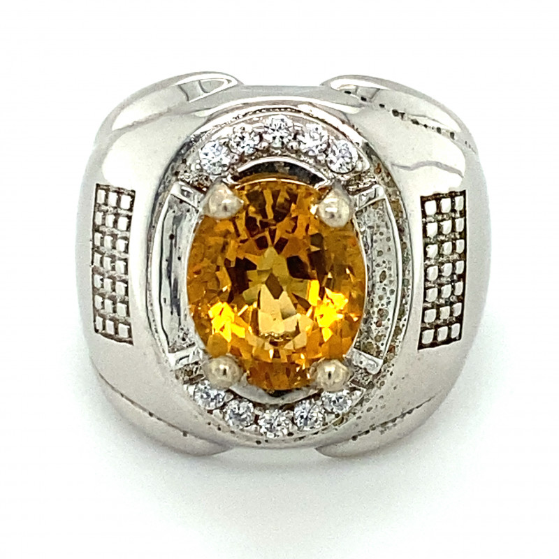 Citrine 2.10ct Platinum Finish Solid 925 Sterling Silver Ring