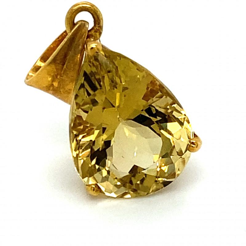 Congo Citrine 8.09ct Solid 18K Yellow Gold Pendant