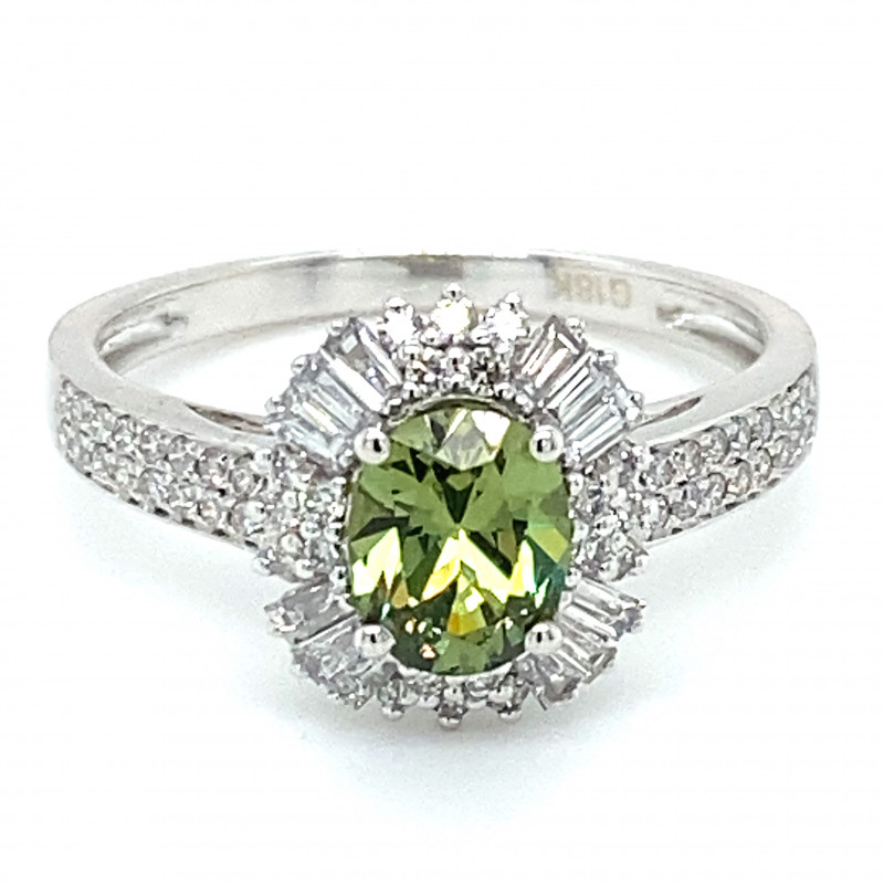 Demantoid Garnet 1.30ct Natural Diamonds Solid 18K White Gold Ring