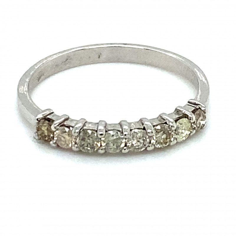 Fancy Colored Diamonds .80ct Solid 14K White Gold Eternity Ring