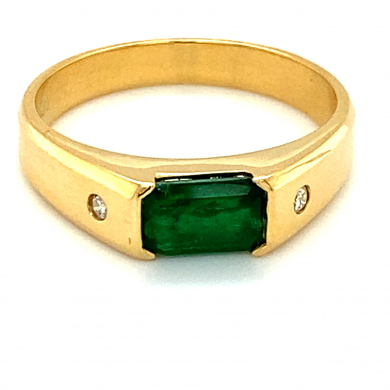 Emerald 1.02ct Natural Diamonds Solid 18K Yellow Gold Ring