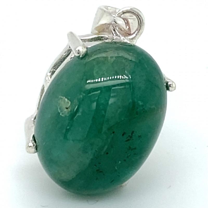 Zambian Emerald 7.70ct Platinum Finish Solid 925 Sterling Silver Pendant