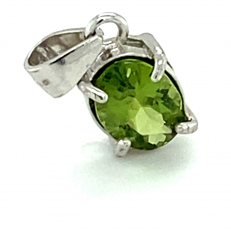 Green Tourmaline .50ct Platinum Finish Solid 925 Sterling Silver Pendant