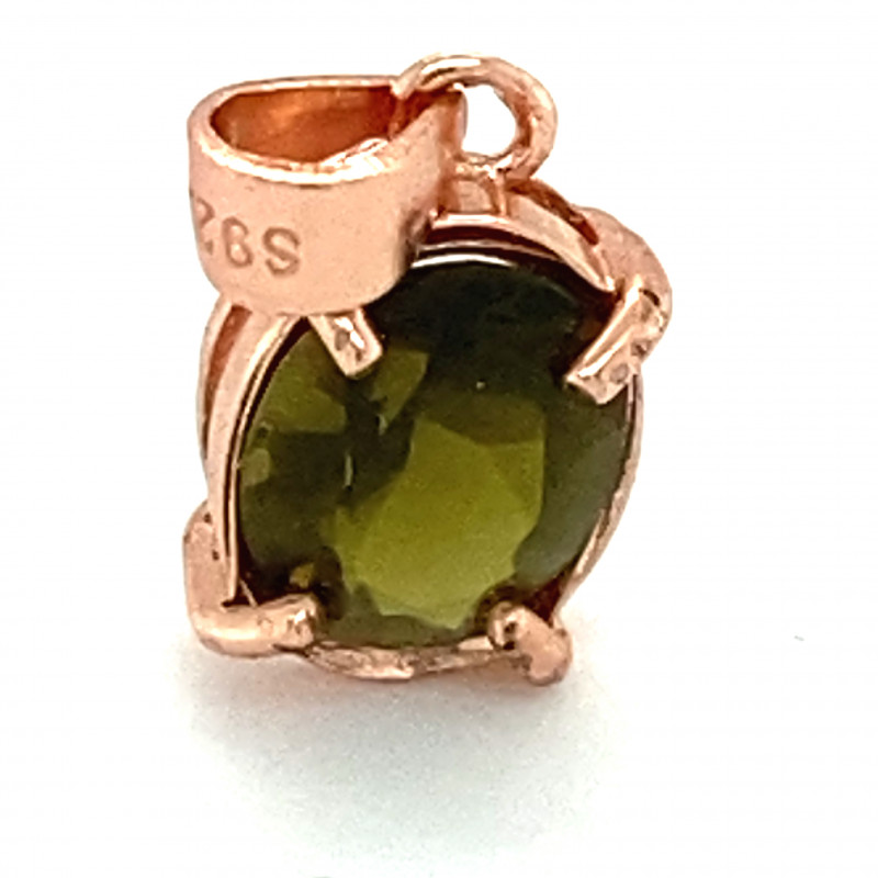 Green Tourmaline 1.20ct Rose Gold Finish Solid 925 Sterling Silver Pendant