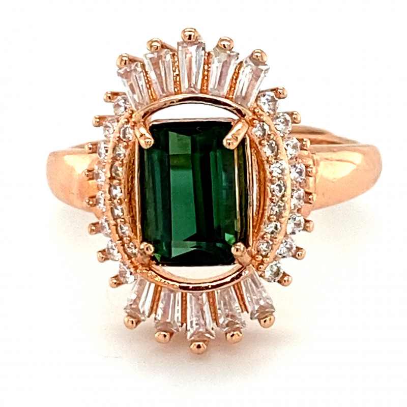 Green Tourmaline 1.30ct Rose Gold Finish Solid 925 Sterling Silver Ring