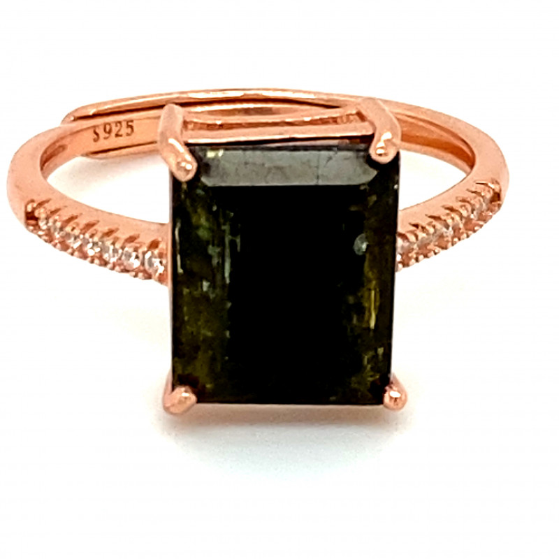 Green Tourmaline 2.90ct Rose Gold Finish Solid 925 Sterling Silver Ring