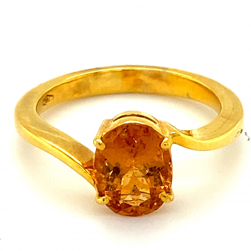 Hessonite 2.60ct Solid 18K Yellow Gold Ring