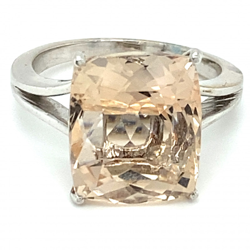 Imperial Topaz 12.25ct Solid 18K White Gold Ring