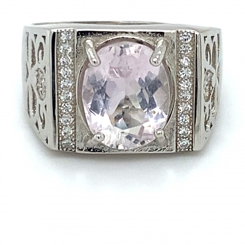 Pink Kunzite 3.50ct White Gold Finish Solid 925 Sterling Silver Ring