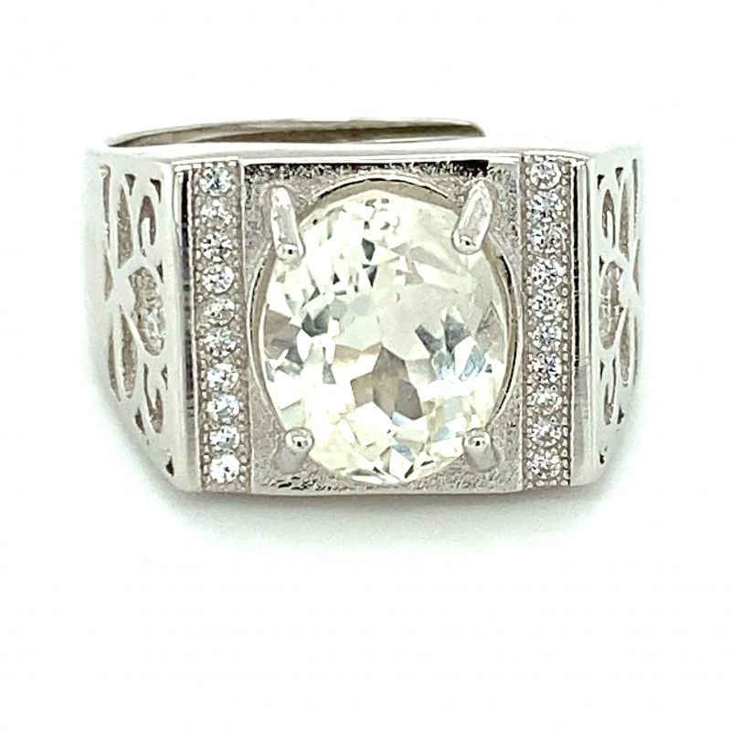 Kunzite 3.95ct White Gold Finish Solid 925 Sterling Silver Ring