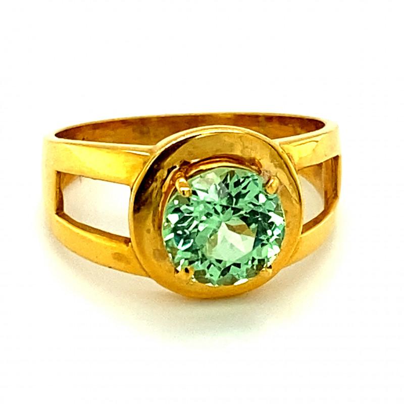 Merelani Mint Garnet 2.03ct Solid 21K Yellow Saudi Gold Ring