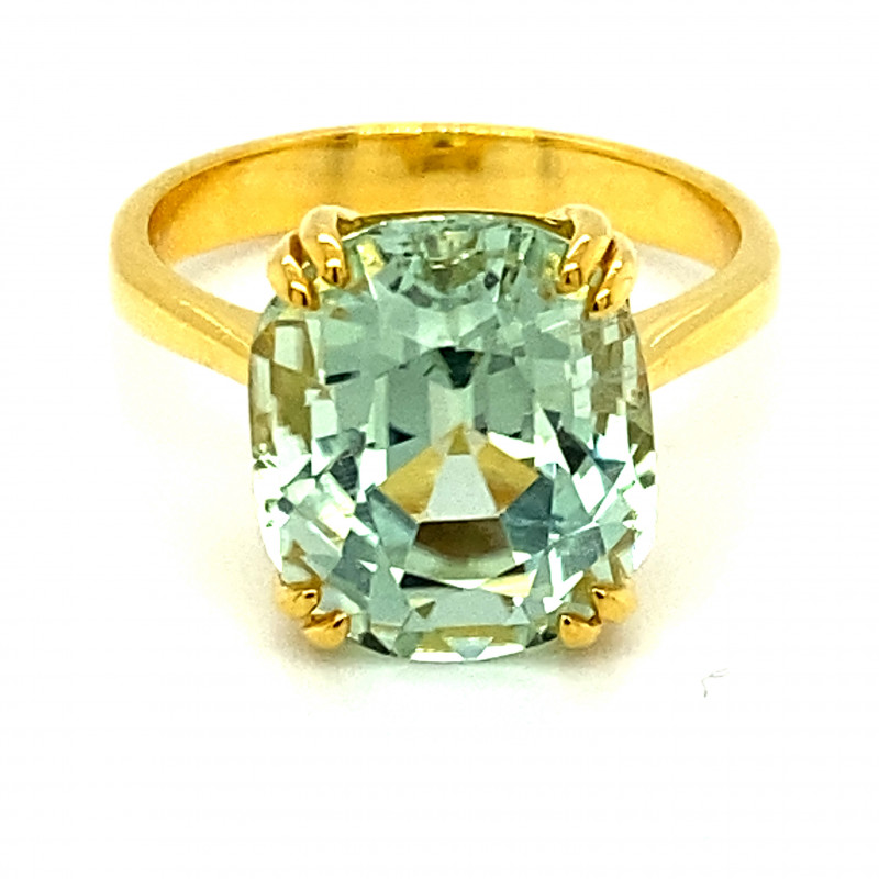 Mint Green Tourmaline 7.54ct Solid 14K Yellow Gold Ring