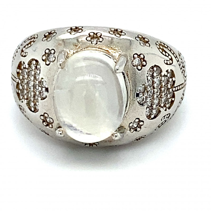 Moonstone 4.80ct Platinum Finish Solid 925 Sterling Silver Ring
